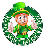 Cartoon Leprechaun St Patricks Day Sign. Cartoon Leprechaun character in a circle reading happy St Patricks Day and giving a thumbs up Royalty Free Stock Photo