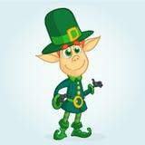 Cartoon Leprechaun. Vector illustration of Leprechaun character presenting. St Patrick`s Day mascot. stock illustration