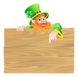 Cartoon Leprechaun Wooden Sign Royalty Free Stock Photography