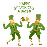 Cartoon leprechauns with beer Royalty Free Stock Photo
