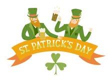 Cartoon leprechauns with beer Royalty Free Stock Photo