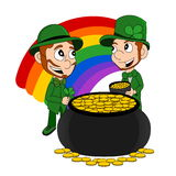 Cartoon leprechauns with pot of gold Royalty Free Stock Photo