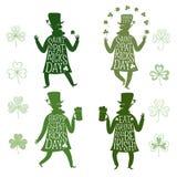 Cartoon leprechauns silhouette set Royalty Free Stock Images