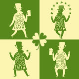 Cartoon leprechauns silhouette set with greeting Stock Photos