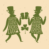 Cartoon leprechauns silhouettes with lettering Stock Photos