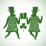 Cartoon leprechauns silhouettes with lettering Royalty Free Stock Image