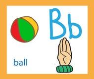 Cartoon letter B. Creative English alphabet. ABC concept. Sign language and alphabet. Sign language and alphabet. Cartoon letter B. Creative English alphabet Royalty Free Stock Photo