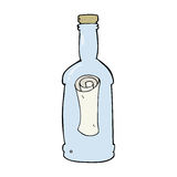 Cartoon letter in a bottle Stock Images