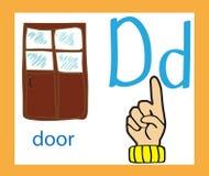 Cartoon letter D. Creative English alphabet. ABC concept. Sign language and alphabet. Sign language and alphabet. Cartoon letter D. Creative English alphabet Stock Illustration