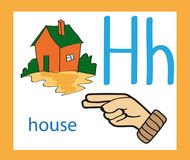 Cartoon letter H. Creative English alphabet. ABC concept. Sign language and alphabet. stock photos