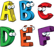 Cartoon Letters A-F Stock Image