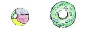 Cartoon life buoy and ball summer animation loop stock footage