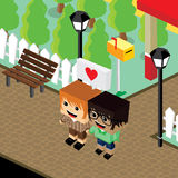Cartoon life couple lover isometric theme Stock Photo