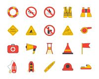 Cartoon Lifeguard Signs Outline Color Icons Set. Vector. Cartoon Lifeguard Signs Outline Color Icons Set Security Assistance Life Concept Flat Design Style Royalty Free Stock Photos