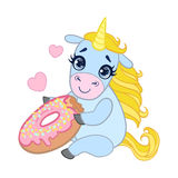 Cartoon light blue lovely unicorn holding pink glazed donut. Colorful vector character Stock Photos