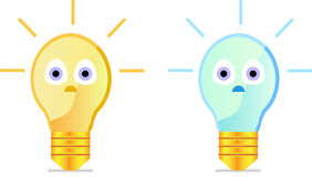 Cartoon light bulb. With big eyes in yellow and blue version Royalty Free Stock Photography