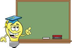 Cartoon light bulb at a blackboard stock illustration