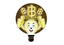 A cartoon light bulb with a bright idea for baht Stock Photos