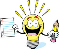Cartoon light bulb holding a paper and pencil Stock Image