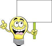Cartoon light bulb holding a sign. Royalty Free Stock Photos