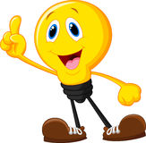 Cartoon light bulb pointing his finger Stock Photography