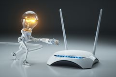 Cartoon light bulb robot attaches LAN cable to Wi-Fi router. Int. Ernet connection concept. 3D render Stock Images