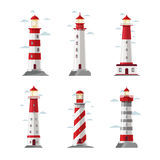 Cartoon lighthouse icons. Vector beacon or pharos set for sea security illustration Stock Image