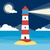Cartoon Lighthouse at night Royalty Free Stock Image
