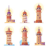 Cartoon lighthouse vector icons Royalty Free Stock Photography