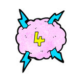 Cartoon lighting storm cloud symbol with number four Royalty Free Stock Photography