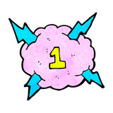 Cartoon lighting storm cloud symbol with number one Stock Image