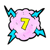 Cartoon lighting storm cloud symbol with number seven Stock Photo