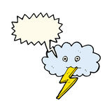 Cartoon lightning bolt and cloud with speech bubble Stock Photo