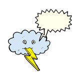 Cartoon lightning bolt and cloud with speech bubble Stock Photography