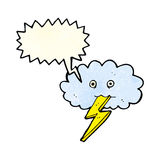 Cartoon lightning bolt and cloud with speech bubble Stock Images
