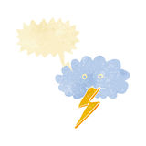 Cartoon lightning bolt and cloud with speech bubble Stock Image