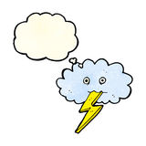Cartoon lightning bolt and cloud with thought bubble Royalty Free Stock Photos