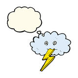 Cartoon lightning bolt and cloud with thought bubble Royalty Free Stock Photo
