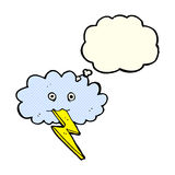 Cartoon lightning bolt and cloud with thought bubble Stock Photos