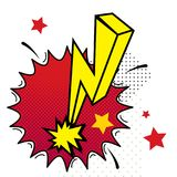 Cartoon lightning with fire pop art style. Vector illustration. Comic style Stock Image