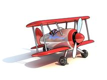 Cartoon like airplane 3d illustration Stock Photos
