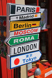 Cartoon like signpost. A cartoon like signpost, showing major global cities Stock Images