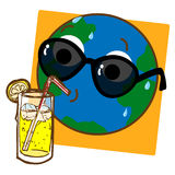 Planet Earth Drinking Lemonade. A cartoon like stylized illustration of the planet Earth drinking ice cold lemonade Royalty Free Stock Image