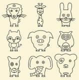 Cartoon line animals. Royalty Free Stock Photo