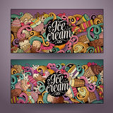 Cartoon line art vector doodles ice cream banners Royalty Free Stock Image