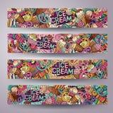 Cartoon line art vector doodles ice cream banners Stock Images