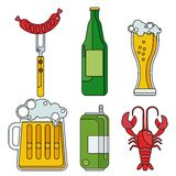 Cartoon line beer objects Royalty Free Stock Photography