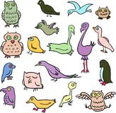 Cartoon line drawing birds Stock Photography