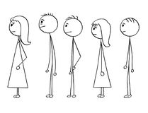 Cartoon of Line of People Waiting in Queue. Cartoon stick man drawing conceptual illustration of group of people waiting in line or queue. Concept of stress and royalty free illustration