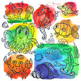 Cartoon linear Funny Sea Life Doodle set. Vector summer background.Sea life animals set with watercolor stein,splash.Funny Fish, octopus,crab,seahorse .Cartoon Stock Photography